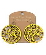 Green Tree Jewelry Circles N' Circle Lemon Yellow Color Wooden Earrings ... - $9.99