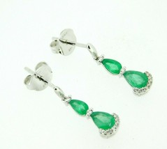 14k White Gold Genuine Natural Emerald Drop Earrings with Diamonds (#J4365) - $795.00