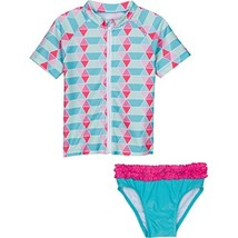 SwimZip Little Girl Rash Guard Swimwear Set UPF 50+Pool Party Blue 18-24... - $39.87