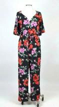 Vintage 1990s Tropical Floral Jumpsuit Romper Pants Low Cut Flowy Top Wo... - $28.70