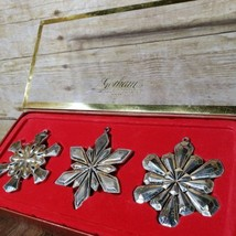 3 Gorham Snowflakes Silver Plate Christmas Ornaments Ornament Set - $48.33