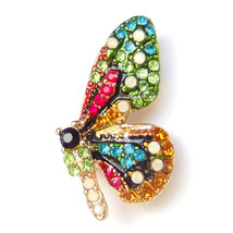 Brooch Colourful Butterfly Red Green Blue Orange Crystal Sparkle Pin Lovely Gift - $8.99