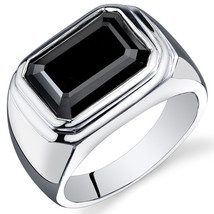 Men's Sterling Silver 7 Carat Rectangular Shape Black Onyx Ring  - $89.99
