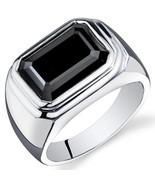 Men's Sterling Silver 7 Carat Rectangular Shape Black Onyx Ring  - $104.99