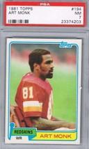 1981 Topps #194 Art Monk PSA 7 NM Rookie Card Redskins - $21.58