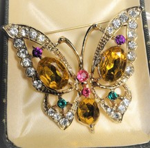 """Vintage 60's Butterfly Brooch Pin 2 1/2"""" x 2"""" Multi Color Stones - $33.66"""