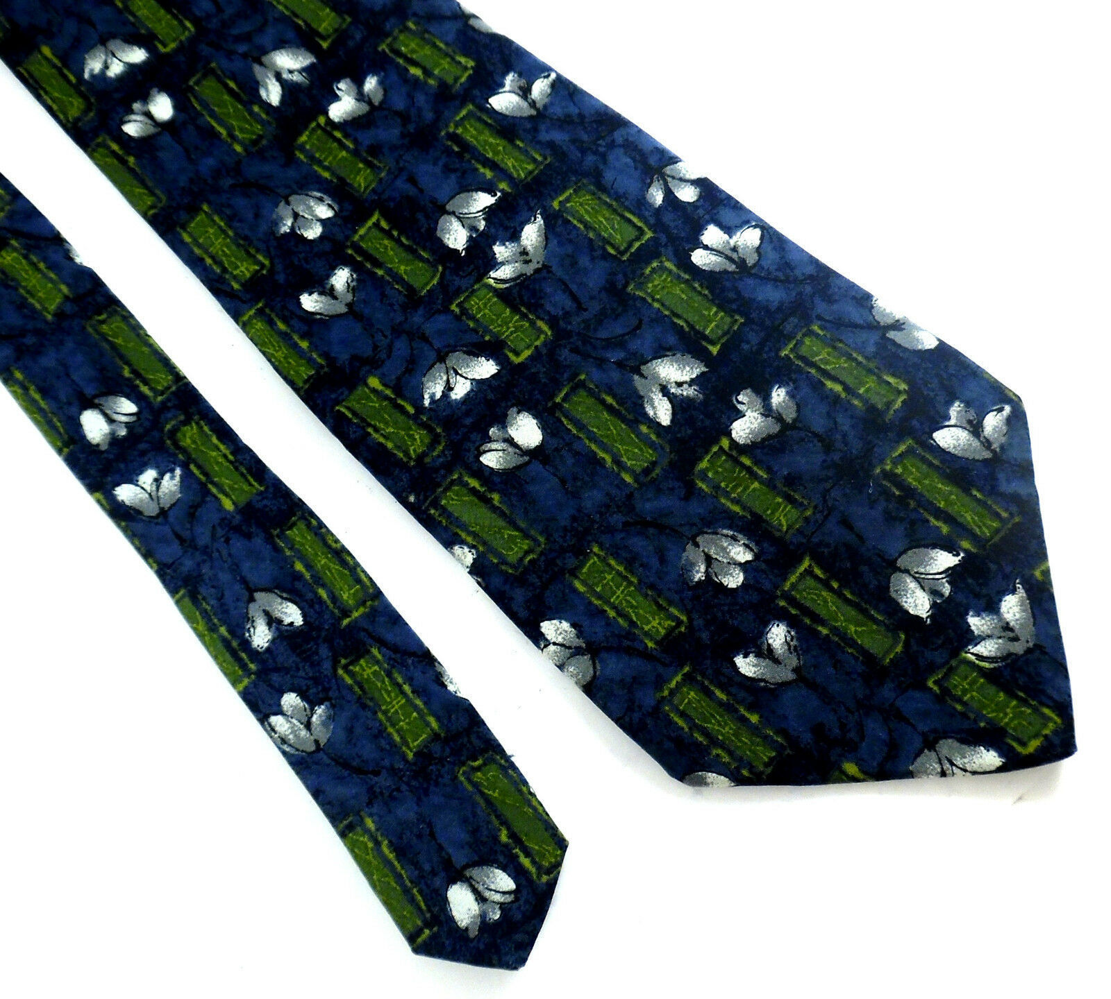 Zylos by George Machado Silk Floral Neck Tie Blue White Green Made in USA