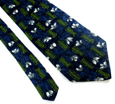 Zylos by George Machado Silk Floral Neck Tie Blue White Green Made in USA - $4.94