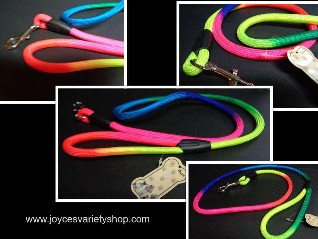 Neon color dog leash collage