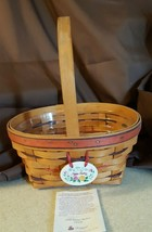 Longaberger 1995 Easter Basket Red Brown Weave Protector & Tie On Fam Si... - $14.00