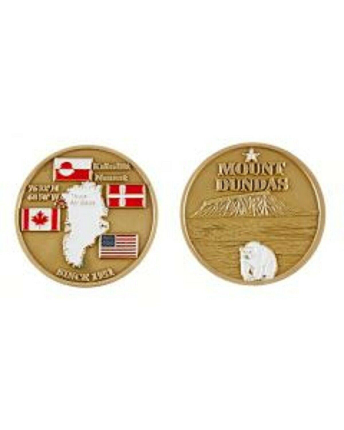 "THULE AIR FORCE BASE MOUNT TUNDAS POLAR BEAR  1.75"" CHALLENGE COIN"