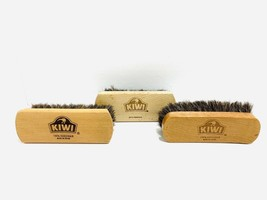 Lot of 3 Kiwi Horsehair Shoe Shine Brushes Made In Israel - $22.76