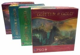 TCG Glitter Gold Jigsaw Puzzle Set 4 750 Pieces Winter Dawn Oalovah Zaku... - $42.49