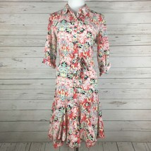 AGB Pink Blue Floral Shirt Dress Roll Sleeve Size 10 - $19.99