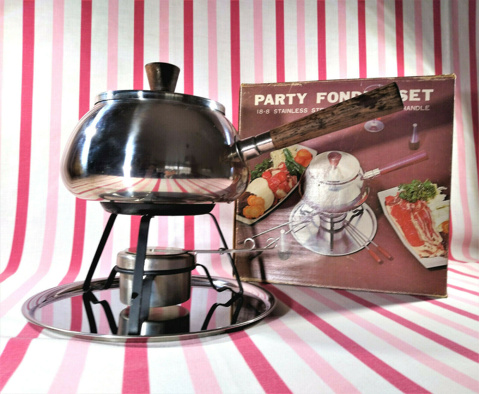 Primary image for FAB Mid Century Stainless Fondue Pot Stand Burner Tray Rose Wood Handles Japan