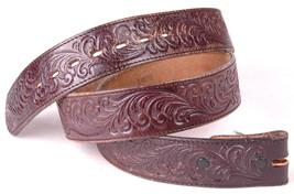 Vtg JUSTIN Leather Belt-Tooled-Stamped-38-Floral-Western-Brown-1409-Cowhide - $32.71