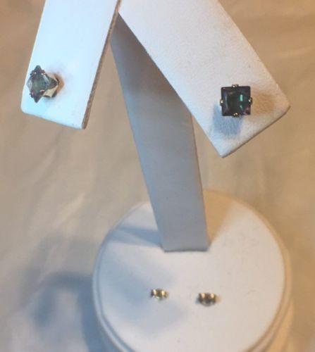 10k Yellow Gold Jewelry Princess Cut Mystic Topaz Stud Post Earrings