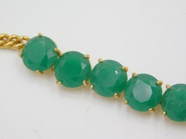 Fossil Goldtone DRAMA COLOR Bright Green Set Stone Flex Bracelet JA6081 $58 - $25.46