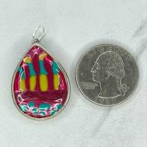 Chico's Colorful Enamel Teardrop Upcycled Pendant - $12.59