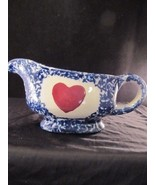 Country Style Blue and White Spongeware Gravy Boat w/ Under Plate & Appl... - $24.31