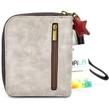 Chala Handbags Faux Leather Snowman Winter Gray Zip Around Wristlet Wallet image 2