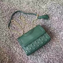 Authentic Tory Burch Fleming Convertible Leather Shoulder Bag Small Moss... - $319.00