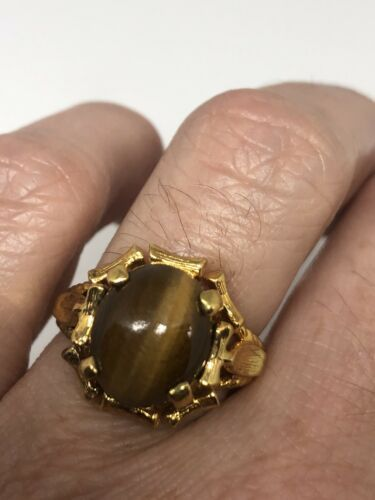 Primary image for Vintage Tigers Eye Ring Golden 925 Sterling Silver Size 7