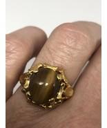 Vintage Tigers Eye Ring Golden 925 Sterling Silver Size 7 - $118.80