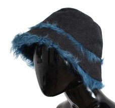 Dolce & Gabbana Gray Wool Blue Shearling Cloche Hat - $351.41