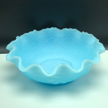 FENTON MILK BLUE GLASS pottery vintage turquoise ruffled crest bowl floral sky - $123.75