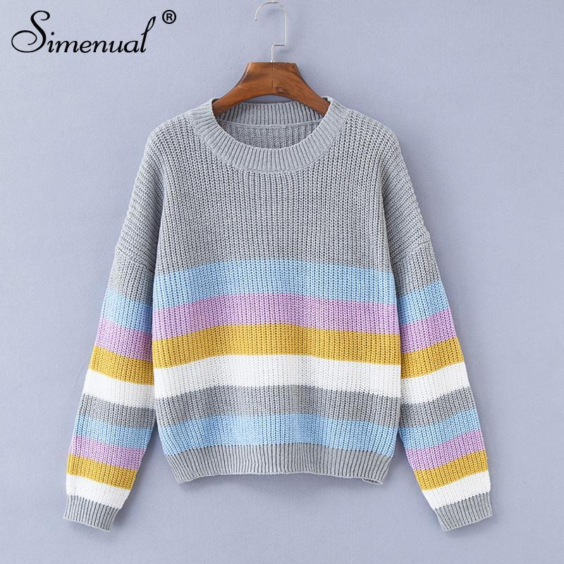 Primary image for Simenual Macaron stripe sweaters women winter 2018 fashion slim knitted jumper p