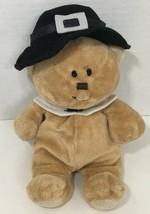 Ty Pluffies Lil Pilgrim Bear tan Teddy Plush black hat white collar Thanksgiving - $5.93