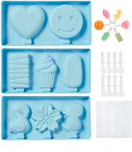 3Pack Silicone Popsicle Molds with Lid for Kids, BPA Free, Homemade Ice ... - $16.75