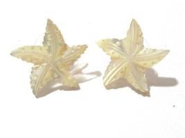 PIERCED EARRINGS PRETTY MOTHER OF PEARL SHELL STAR SHAPE VINTAGE - $26.00