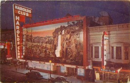 Old Chrome Postcard NV I507 Harolds Club Reno Nevada Neon Signs Street View - $6.50