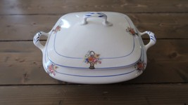 Antique Lidded Serving Bowl Dish by CARROLTON H CHINA 8 inch diameter - $128.69