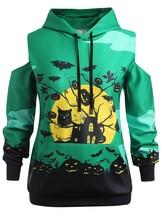 Plus Size Halloween Bat Pattern Hoodie(CLOVER GREEN L) - $28.88