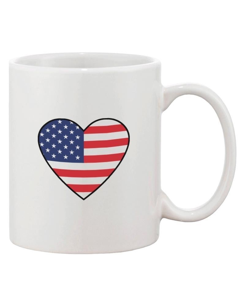 Us Flag Heart America Red White and Blue 4th of July Coffee Mug