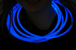 "50 22"" Premium Jumbo Blue Glow Stick Necklaces Preattached Connectors - $23.95"