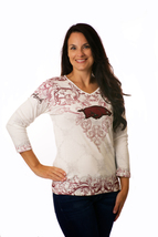Arkansas Razorbacks Ladies Ivory Victorian 3/4 Sleeve Shirt - €19,52 EUR