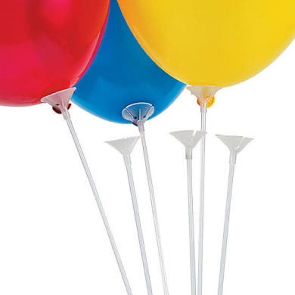"24 balloons 12"" inflated & 24 balloon sticks 24"" long and 24 clear balloon cups"