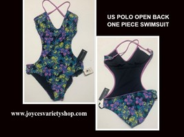 U.S. Polo One Piece Swimsuit Floral Open Back Sz M image 1