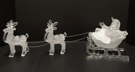 Christmas Decor - Santa Sleigh & 2 Reindeers - Clear & Frosted Acrylic P... - $31.90
