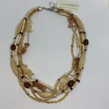 New Liz Claiborne Multi Strand Beaded Stone Necklace Brown Tan - $10.95