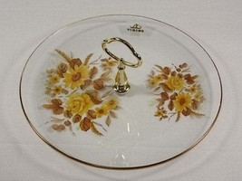 Viking Glass Yellow Floral Center Handle Plate, Center Handle Server, Ye... - $40.00
