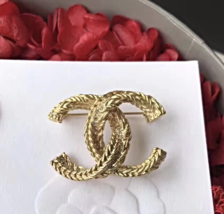 Authentic CHANEL 2017 Large Gold Crystal CC Brooch Pin NEW