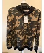 "Zara Men's Camouflage pull over Hoodie w/ ""delayed future"" stitching Sz ... - $44.95"