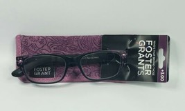 +3.00 Reading Glasses Foster Grant Ladies Patricia Mag Black Purple w Soft Case  - $14.65