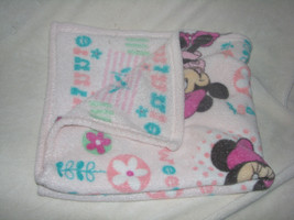 DISNEY MINNIE MOUSE PINK BLANKET BABY SOFT SWEET POLKA DOTS FLOWERS SWAD... - $27.71