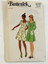 Butterick 4115 Sewing Pattern Misses Dress Uncut Size 12 Bust 34 Vintage - $5.99